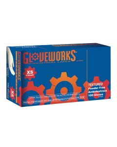 Gloveworks Powder Free Textured Latex Gloves, XSmall