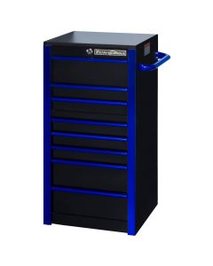 "19"" Extreme Tools 7-Drawer Side Cabinet, Black with Blue Trim"