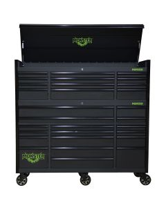 Monster Mobile? 72 in. 2-Piece Combo 12-Drawer Chest and 17-Drawer Cabinet, Matte Black