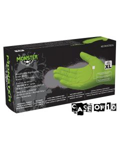 Monster Mobile? Monster Grip High Visibility Green Nitrile Gloves, Extra Large (Case of 10)