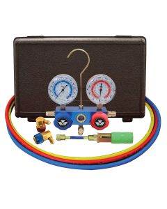 """134A Aluminum Manifold Gauge Set with 60"""" Hoses and Standard Couplers"""