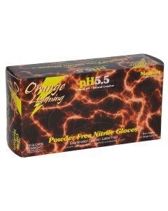 Orange Lightning Orange Nitrile Gloves, XLarge