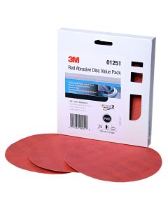 """3M Red Abrasive Stikit Disc Value Pack, 6"""", P400 Grit 25 Per Pack"""