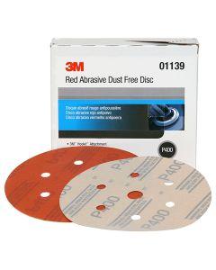 "3M Red Abrasive Hookit Disc, Dust Free, 6"", P400 Grit, 50 Per Box"