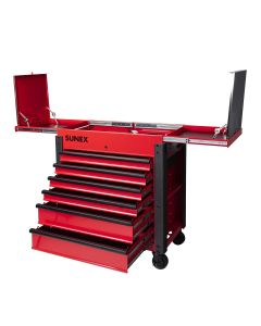 Sunex Tools 6-Drawer Slide Top Service Cart, Red