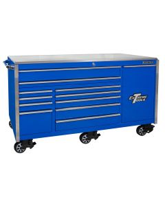 76 in. 12-Drawer Professional Roller Cabinet, Blue