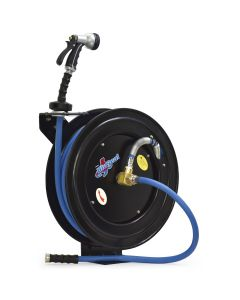 """BluBird RMX BluSeal BSWR5850 Retractable Water Hose Reel w/ Hot Water Rubber Hose 5/8"""" x 50' + 6' Lead-in + 9 Pattern Spray Nozzle"""