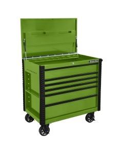 41 in. 6-Drawer Tool Cart w/Bumpers, Lime Green w/Black-Drawer Pulls