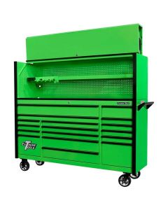 "DX Series 72"" Pro Hutch & 17 Drawer Roller Cabinet Combo, Green, Black Drawer Pulls"