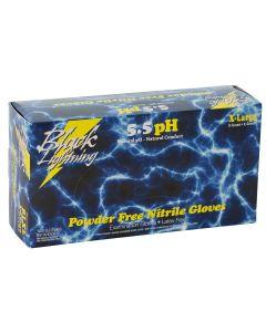 Black Lightning Black Nitrile Gloves, XL