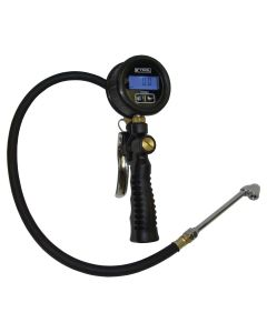 Digital Air Inflator w/ Dual Head Chuck - 150 PSI - Die-Cast Body -  Large Face Backlit LCD Display - Ergonimic Grip - SS Valve