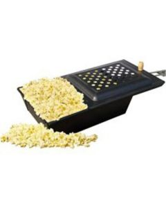 Campfire Popcorn Popper, All Steel Construction with Sliding Lid, Wooden Grip Handle Stays Cool