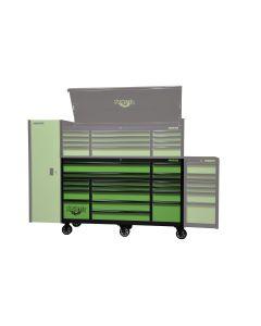 Monster Mobile? 72 in. 17-Drawer Triple Bank Roller Cabinet, Black/Green