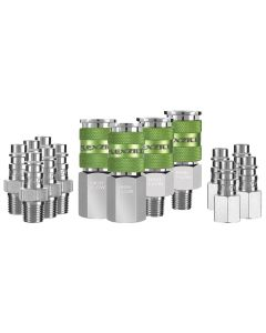 "Flexzilla Pro High Flow Coupler and Plug Kit, 1/4"" NPT, 1/4"" Body, 14-Piece"