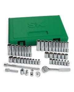"48 Pc. 1/4"" Drive 6PT Metric/SAE Std/Deep Socket Set w/ Univ Joint"