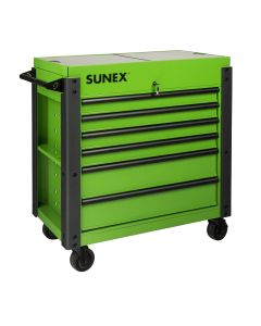 Sunex Tools 6-Drawer Slide Top Cart w/ Power, Lime Green