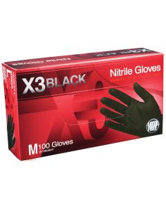 X3 Powder Free, Textured, Black Nitrile Medium