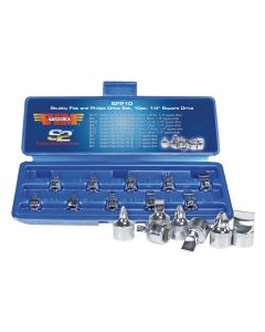 """10 Piece 1/4"""" Square Drive Stubby Flat and Phillips Drive Set"""