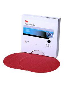 """3M Red Abrasive Stikit Disc, 6"""", 40 Grit, 25 Per Box"""