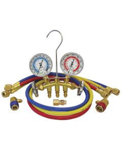 Dual R-12/R-134A Brass Manifold Gauge Set