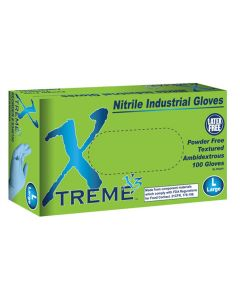 Xtreme X3 Powder Free Textured Blue Nitrile Industrial Gloves, Large