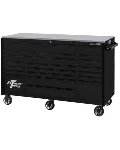 "Extreme Tools RX Series 72"" 19 Drawer 25"" Deep Roller Cabinet, 150 lbs. Slides, Matte Black with Black Drawer Pulls"