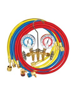 """Brass Manifold for R134A with 60"""" Hoses"""