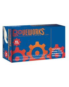 Gloveworks Powder Free Textured Latex Gloves, XLarge