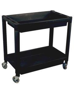 Heavy Duty Plastic 2-Shelf Utility Cart, Black