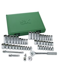"49-Piece 3/8"" Drive 6 Point Fractional/Metric Socket Set with Universal Joint"