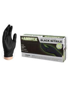 AMMEX Black Nitrile PF Exam Gloves, Medium