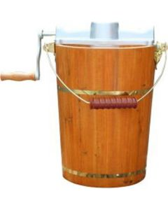 Old Fashioned Ice Cream Maker, 6 Quart, Electric Motor or Hand Crank, with Aluminum Tub and Lid