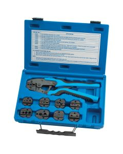 Quick Change Ratcheting Terminal Crimping Kit with 9 Die Sets