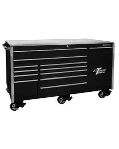 76 in. 12-Drawer Professional Roller Cabinet, Black