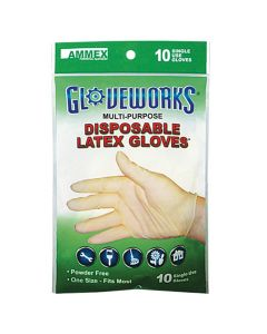 Gloveworks Disposable Latex Gloves, 10-Pack