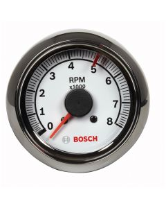 "2-5/8"" Tachometer, White/Chrome"