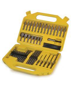 "Power Bit Set, 45 Piece, Nut Drivers, Screwdrivers, Hex Shank Drills, 1/4"" Adapter, Extension, Case"