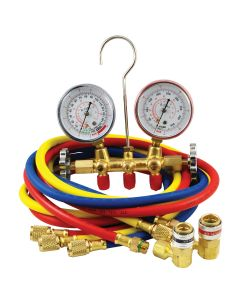 Mountain R134A Brass Manifold Gauge Set with Couplers