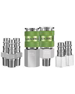 "Flexzilla Pro High Flow Coupler and Plug Kit, 1/4"" NPT, 1/4"" Body, 7-Piece"
