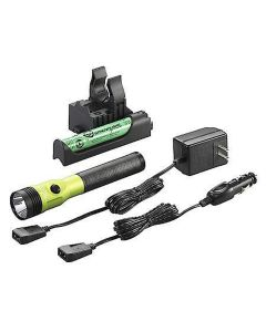 Stinger LED HL Rechargeable Flashlight, 120/DC, PiggyBack Holder, Lime, 800 Lumens