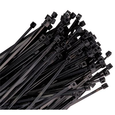 100-pk of 11 Black Nylon Cable Ties with 50 lb. Tensile Strength