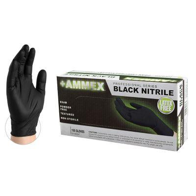 AMMEX Black Nitrile PF Exam Gloves, Large